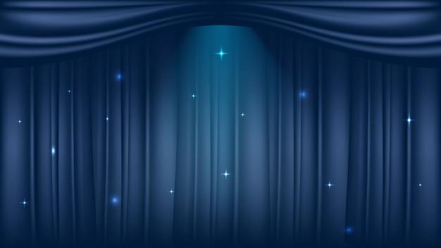 Fase del teatro su sfondo blu tende di lusso Vettore Premium