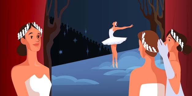 Palcoscenico con tende rosse aperte. la ballerina si esibisce indossando un tutù e scarpe da punta. vista dietro le quinte. ballerine in costume. illustrazione Vettore Premium
