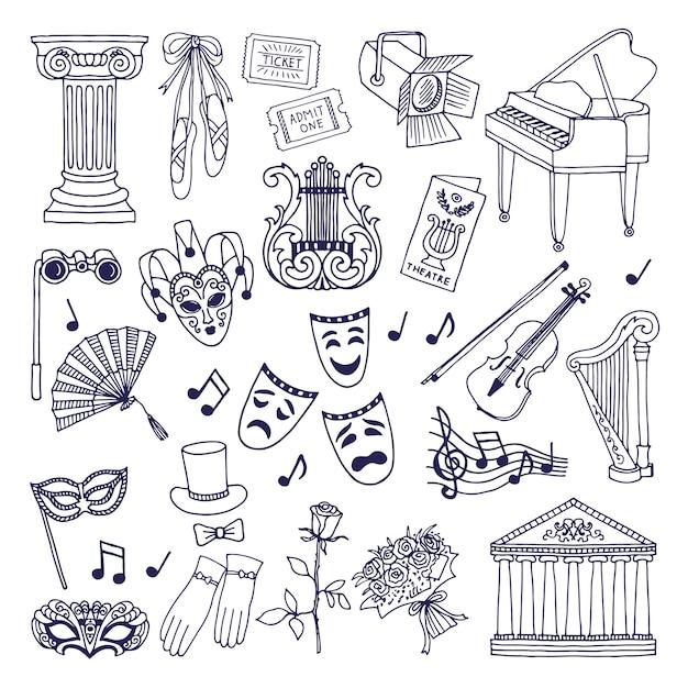 Set di illustrazioni teatrali. isolato di simboli di vettore di opera e di balletto su bianco Vettore Premium
