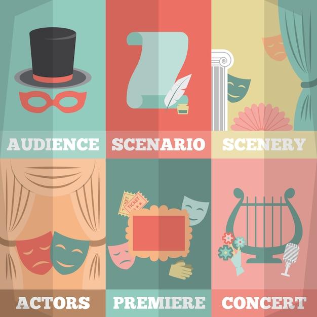 Mini set per manifesti teatrali Vettore Premium