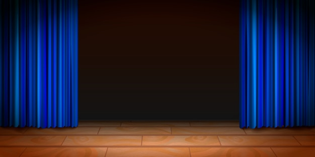Scena di teatro in legno con sfondo scuro e tende blu Vettore Premium