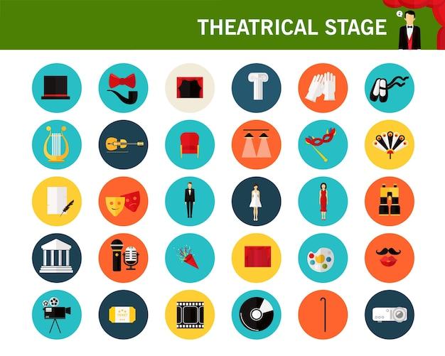 Icone piane di concetto di palcoscenico teatrale. Vettore Premium