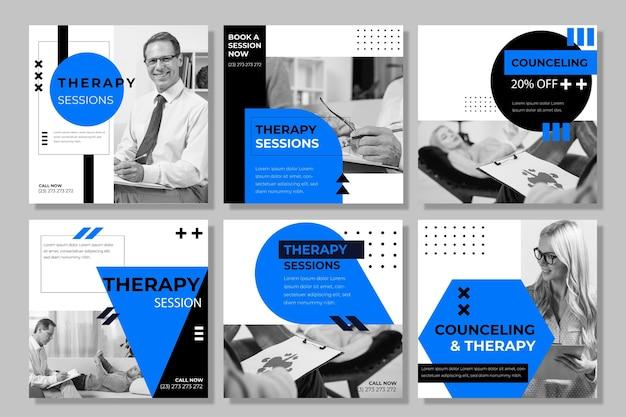 Modello di post di instagram di sessioni di terapia Vettore Premium