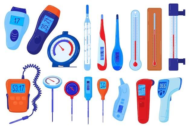 Insieme dell'illustrazione di vettore dei termometri, collezione di misuratori di temperatura piatta del fumetto del termometro medico meteorologico Vettore Premium