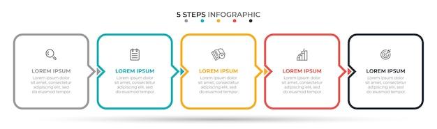 Opzioni o passaggi del modello di infografica linea sottile 5 Vettore Premium