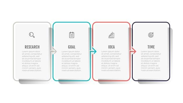 Design del modello infografica linea sottile con icone e frecce Vettore Premium