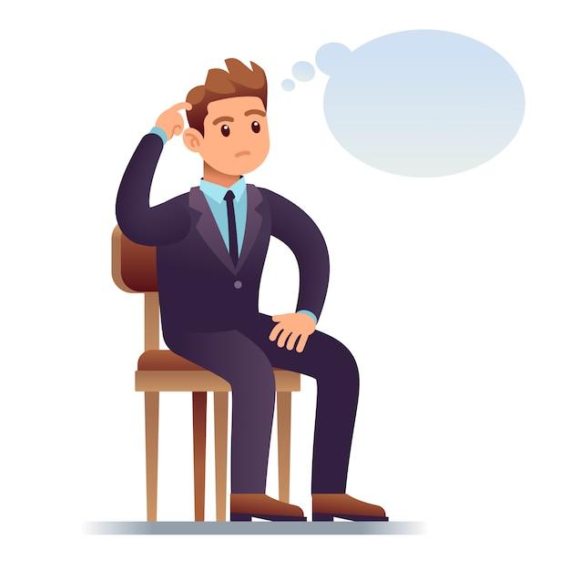 Uomo pensante. uomo d'affari di scratch che si siede sulla sedia con la bolla di pensiero vuota. illustrazione preoccupata dell'uomo in dubbio Vettore Premium