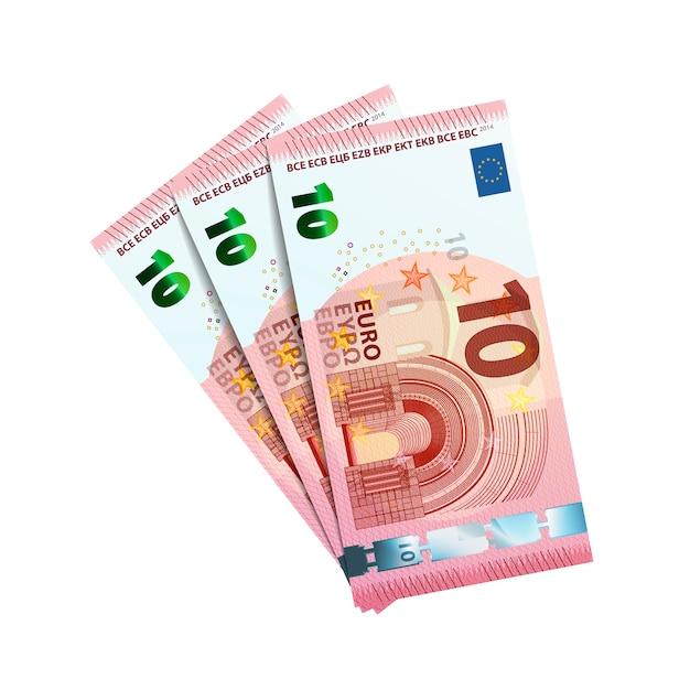 Trenta euro in fasci di banconote Vettore Premium