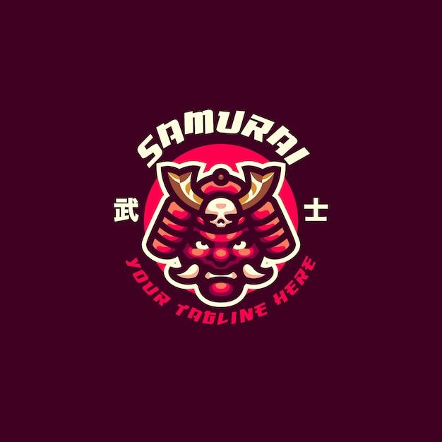Questo è il logo della mascotte della maschera da samurai. questo logo può essere utilizzato per sport, streamer, giochi e logo esport. Vettore Premium