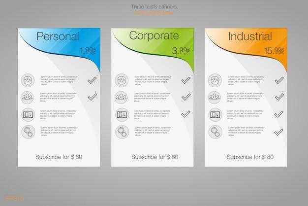 Tre banner per le tariffe e i listini. elementi web. pianifica l'hosting. per l'app web. pianificare il sito web in appartamento. Vettore Premium