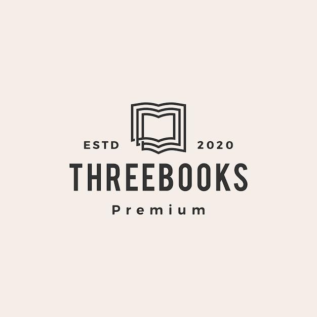 Logo vintage di tre libri hipster Vettore Premium