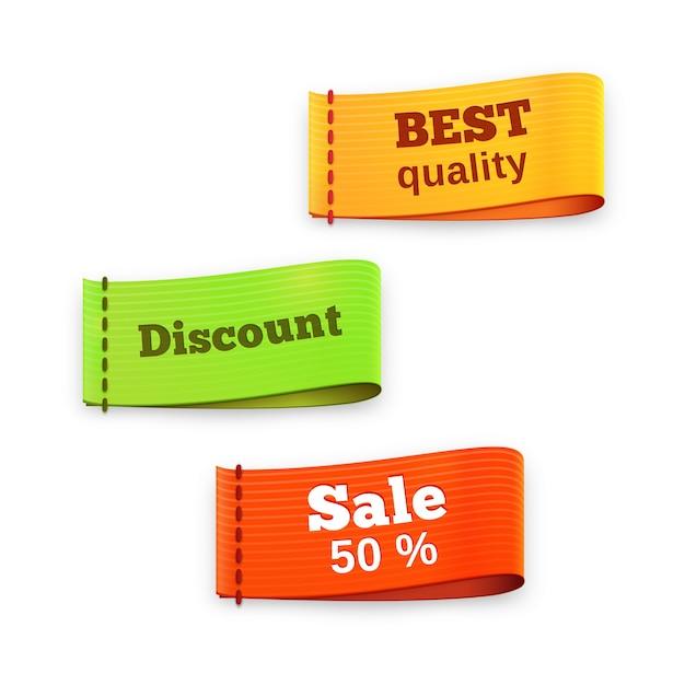 Lettura di tre etichette di etichette in tessuto vettoriale colorate - migliore qualità - sconto - vendita 50 percento - per la vendita al dettaglio e lo shopping con consistenza e dimensione Vettore Premium