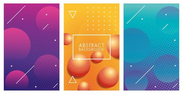 Tre sfondi astratti colorati geometrici Vettore Premium