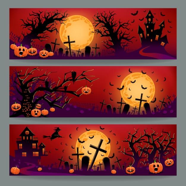 Tre striscioni di halloween Vettore Premium