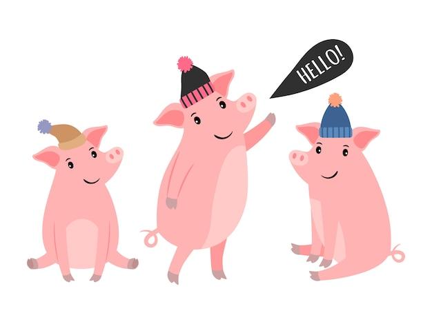 Tre piggy in cappelli invernali Vettore Premium
