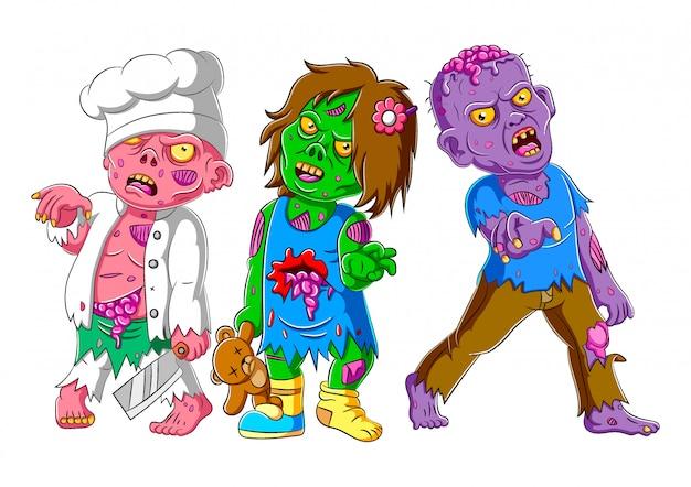 Tre zombie spaventosi in piedi di illustrazione Vettore Premium