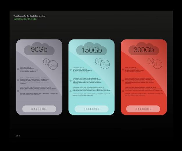 Tre banner tariffari. tabella dei prezzi web. per l'app web. imposta le tariffe. pianificare il sito web in appartamento. Vettore Premium
