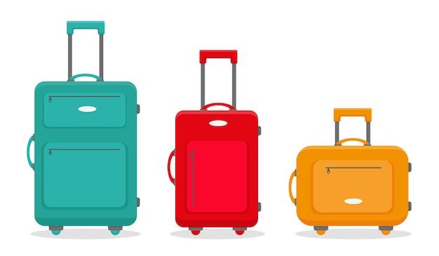 Tre valigie di viaggio isolate su sfondo bianco Vettore Premium