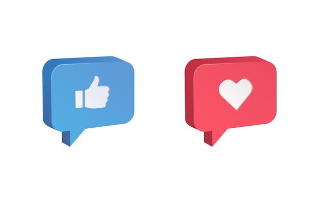 Pollice in alto e reazioni emoji icona del cuore Vettore Premium