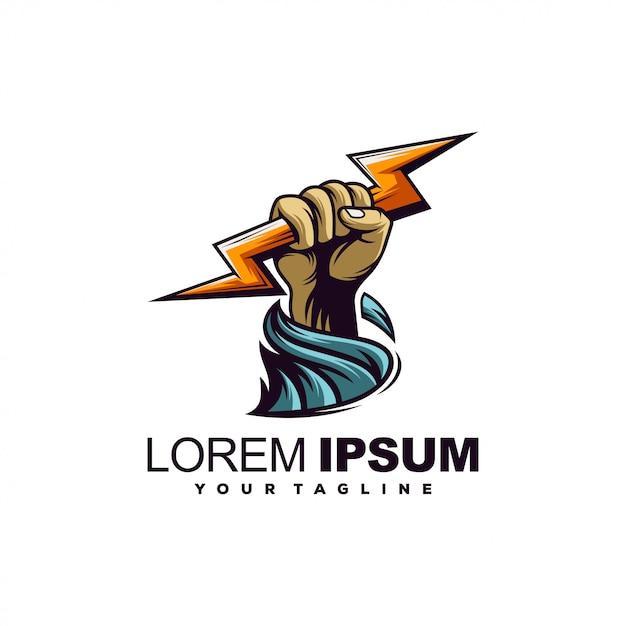 Modello di logo di tuono Vettore Premium