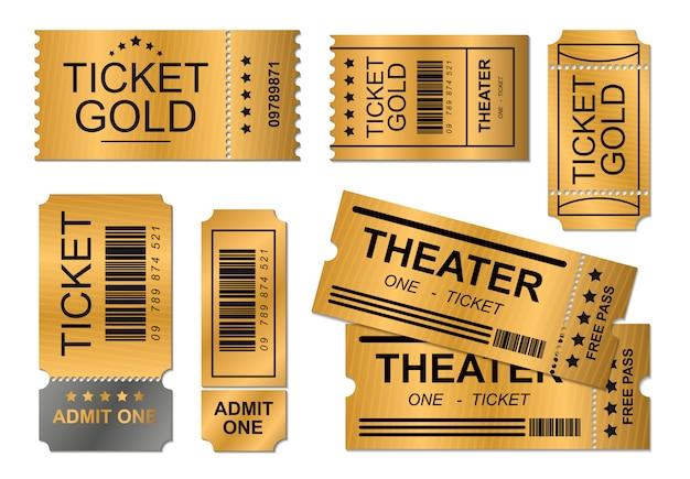 Illustrazione realistica di progettazione dell'oro del buono del biglietto, modello di affari del teatro del cinema di evento, fondo semplice di autorizzazione di concetto di progettazione del modello Vettore Premium
