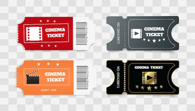 Biglietti isolati su sfondo bianco. vista frontale realistica. biglietto del cinema bianco. Vettore Premium