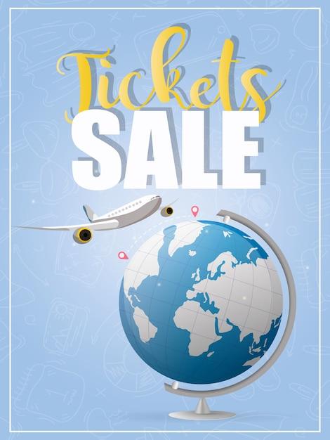 Vendita di biglietti. bandiera blu. l'aereo vola dal punto a al punto b. globo blu. buono per la vendita di biglietti aerei. Vettore Premium
