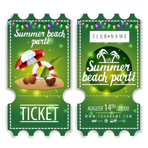 I biglietti per la festa in spiaggia d'estate Vettore Premium