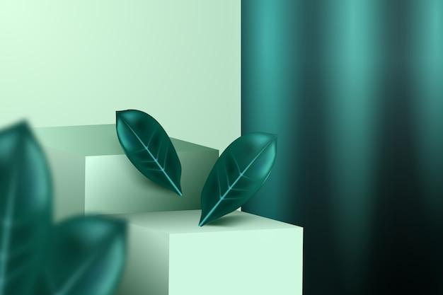 Tidewater green, passerelle, foglie e tendaggi. modello pubblicitario di cosmetici alla moda. Vettore Premium