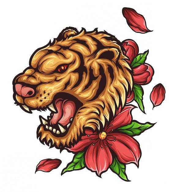Tatuaggio testa di tigre Vettore Premium