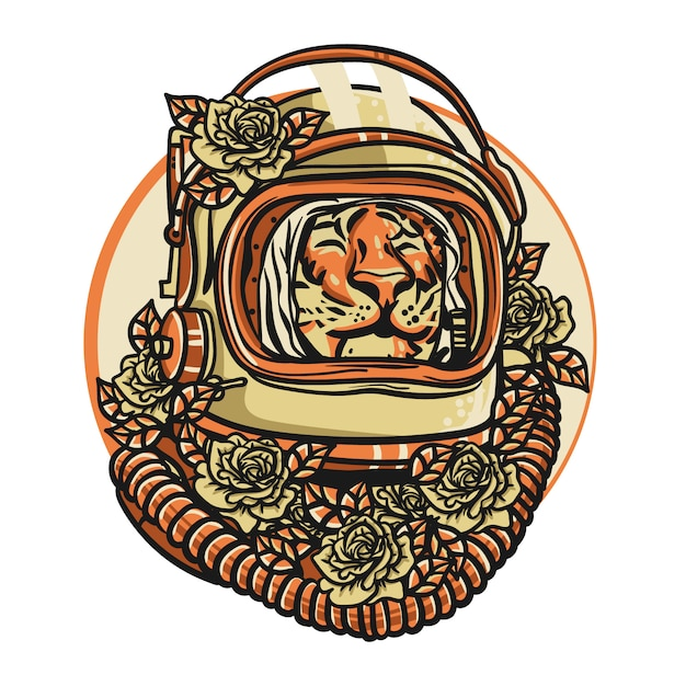 Testa di tigre con casco astronauta Vettore Premium