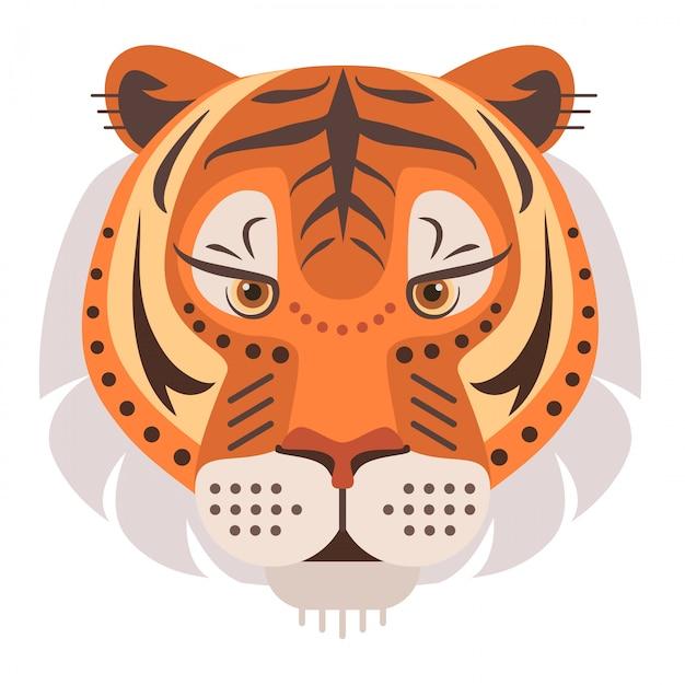 Testa di tigre Vettore Premium