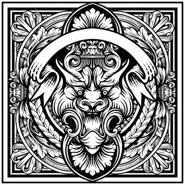 Illustrazione della tigre, incisione vintage cornice di confine con retro ornamento nel design decorativo in stile rococò antico Vettore Premium