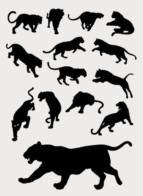 Tiger, panther, leopard, gesture silhouettes Vettore Premium