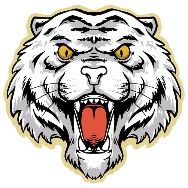 Design arrabbiato testa di tigre bianca Vettore Premium