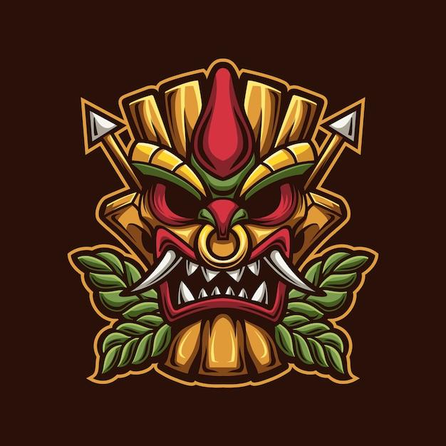 Modello di logo del fumetto della maschera della testa di tiki con illustrazione del fuoco. esport logo gaming Vettore Premium