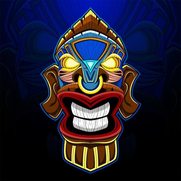 Tiki maschera esport logo mascotte Vettore Premium