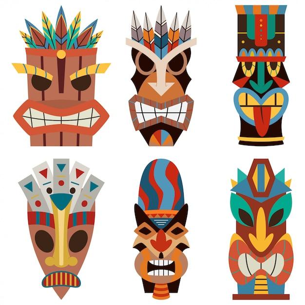 Insieme di vettore di maschera tiki di taglio in legno hawaiano e polinesiano tagliato. Vettore Premium