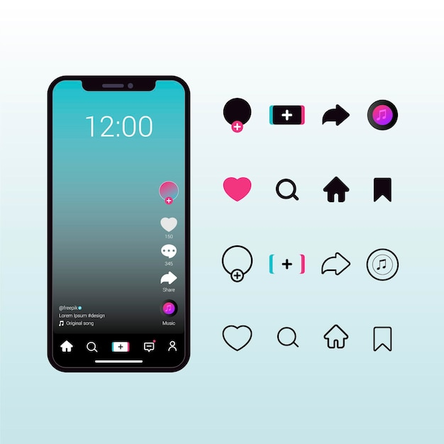 Interfaccia dell'app tiktok con raccolta di pulsanti Vettore Premium