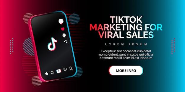 Progettazione dell'applicazione tiktok su uno smartphone. Vettore Premium