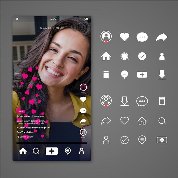 Interfaccia tiktok con icone Vettore Premium
