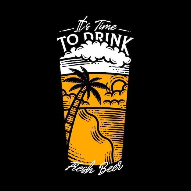 Tempo di bere birra fresca lettering illustrazione Vettore Premium