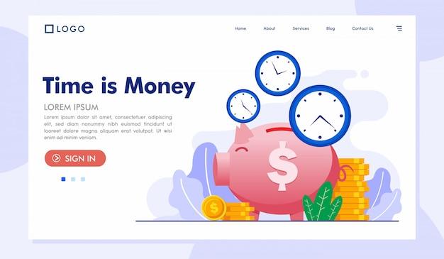 Il tempo è denaro modello di vettore del sito web della pagina di destinazione Vettore Premium