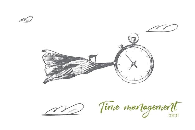 Concetto di gestione del tempo. orologio della holding della donna disegnata a mano. ritratto di persona di sesso femminile con illustrazione isolato grande orologio. Vettore Premium