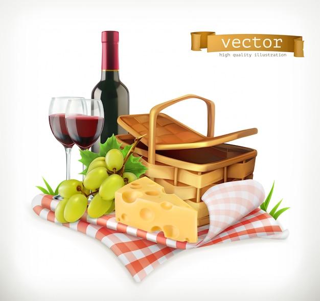 Tempo per un picnic, natura, attività ricreative all'aperto, una tovaglia e cestino da picnic, bicchieri da vino, formaggio e uva, illustrazione Vettore Premium