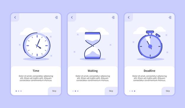 Schermata di inserimento della scadenza del tempo di attesa per l'interfaccia utente della pagina banner del modello di app mobili con tre varianti di stile moderno piatto Vettore Premium