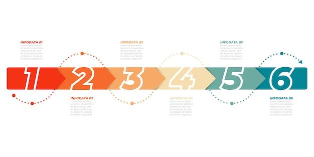 Modello di infografica timeline. concetto di affari con 6 opzioni, passaggi, frecce. può essere utilizzato per diagramma del flusso di lavoro, grafico informativo, presentazioni. Vettore Premium