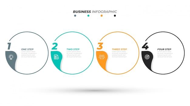 Modello di infografica timeline per le fasi del processo aziendale Vettore Premium