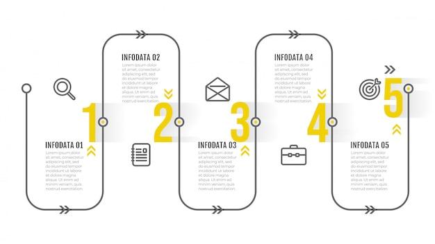 Modello di infografica timeline. design sottile con icone e passaggi numerici. concetto di affari con 5 opzioni. Vettore Premium