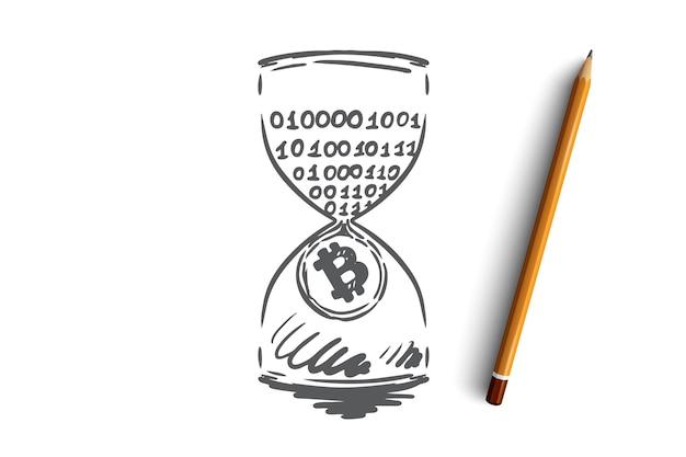 Timestamp, bitcoin, blockchain, valuta, concetto digitale. reddito passivo disegnato a mano, schizzo di concetto di data mining. Vettore Premium